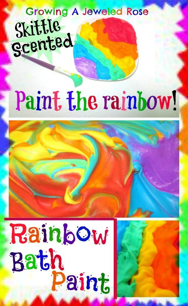 Skittle scented rainbow bath paint 09