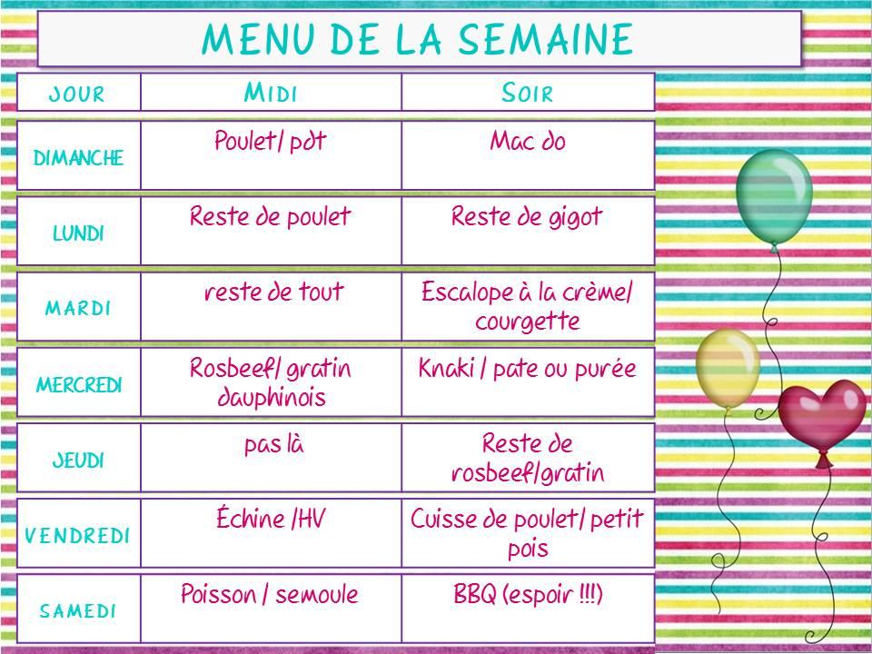 idée menu semaine simple Menu de la semaine #6 idée menu semaine simple