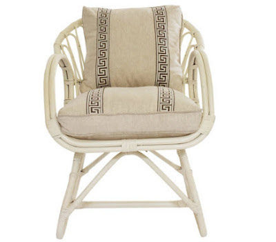 Vintage rattan chair newly painted ivory
