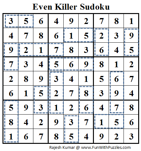Even Killer Sudoku (Daily Sudoku League #72) Solution