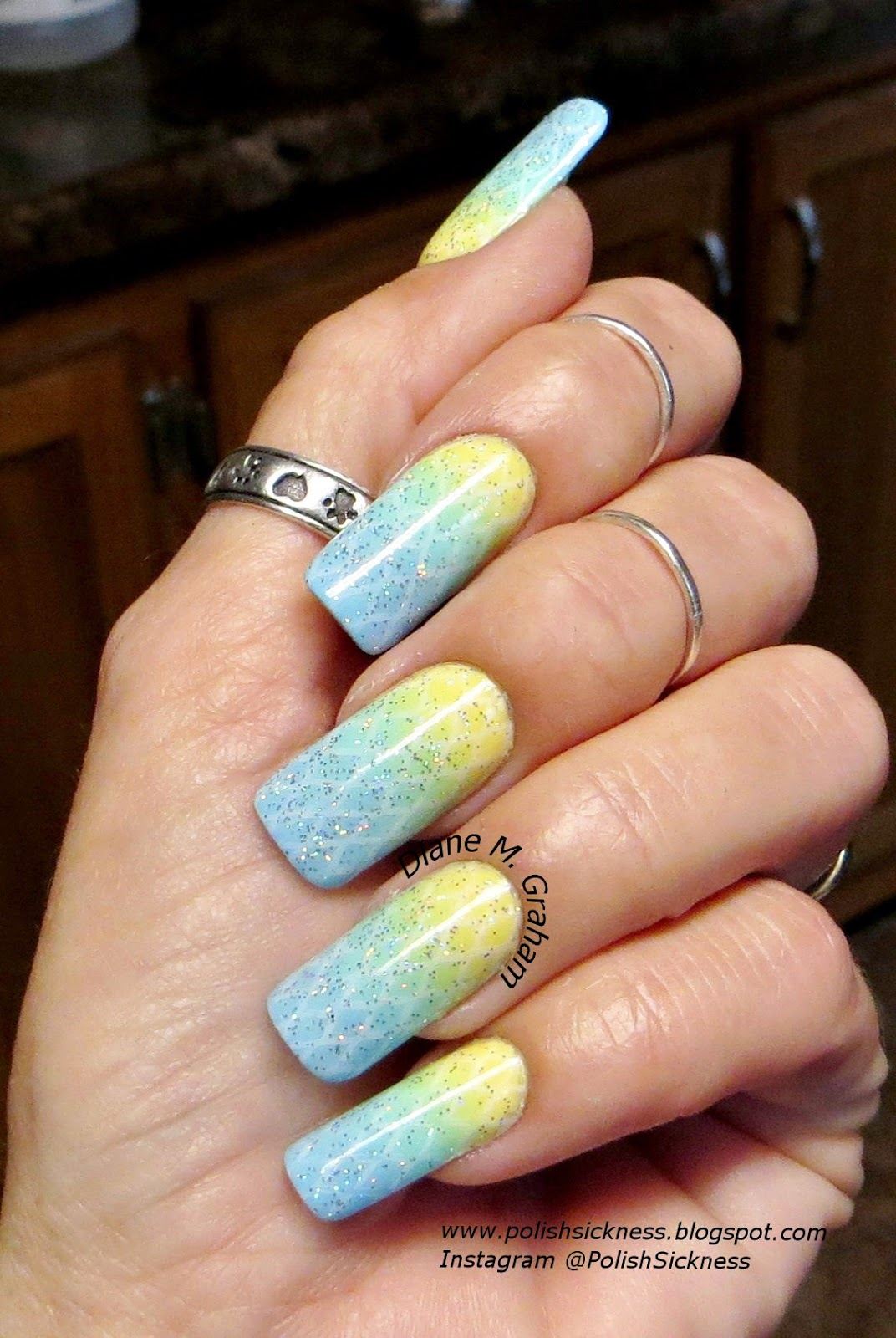Fresh Paint Alex's Lemonade, Color Club Blue Ming, QRS Cruiser gradient, Orly Shine on Crazy Diamond, Bundle Monster BM XL02 stamp