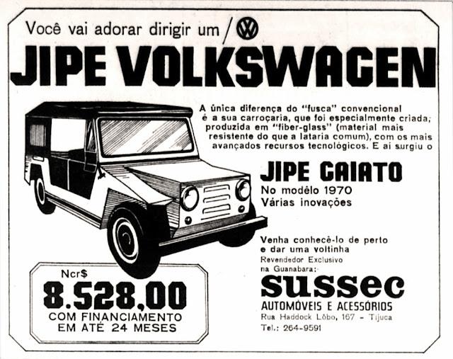 Propaganda do jipe Volkswagen Gaiato - 1970;