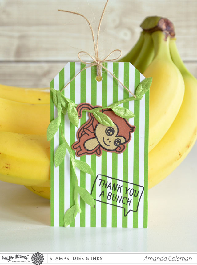 Cute monkey Thanks a Bunch gift tag