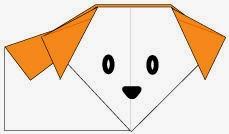 Bước 8: Vẽ mắt, mũi để hoàn thành cách xếp con Chó bằng giấy origami đơn giản.