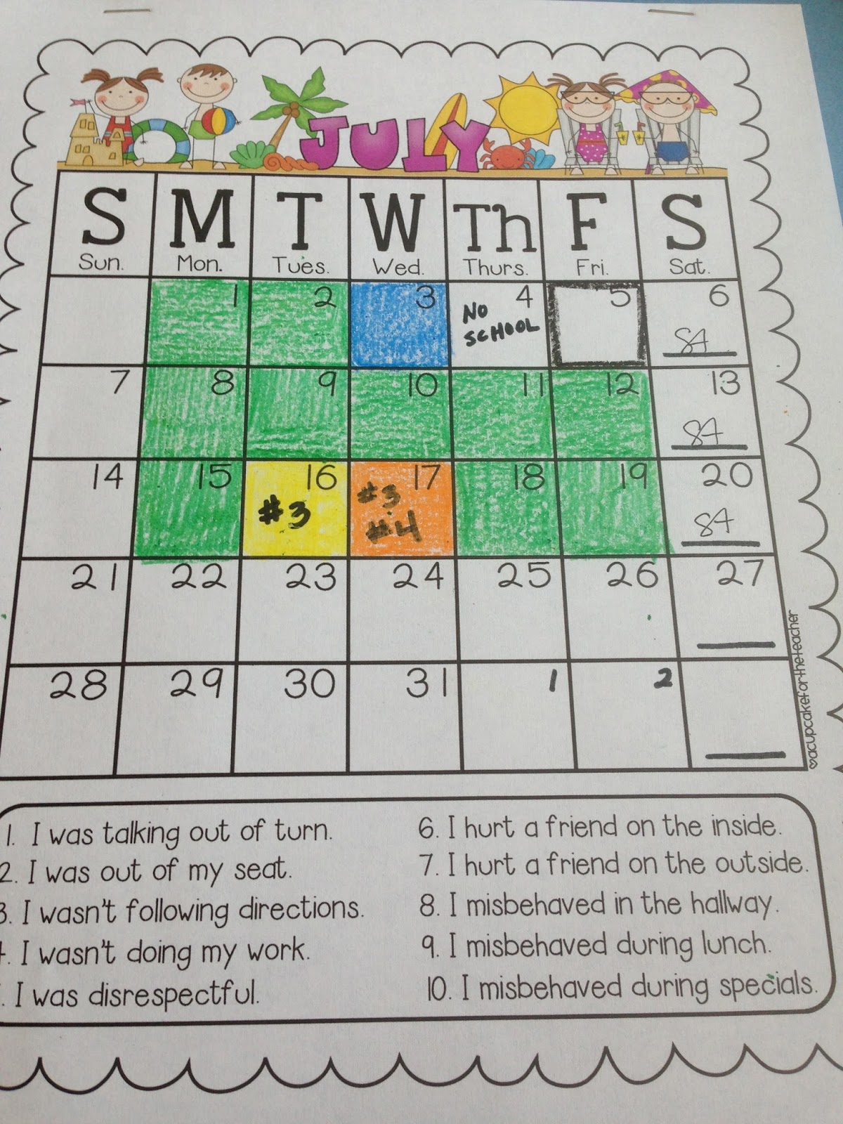 Behavior Calendar Kindergarten : A ray of kindergarten sunshine my favorite things