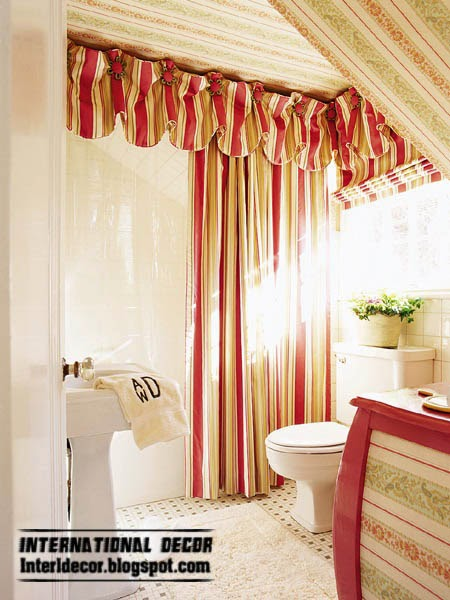 red striped curtain for bathroom window