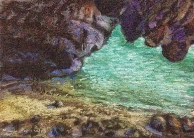 oft pastel painting of a seashore at Langkawi Island, Malaysia by Manju Panchal
