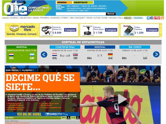 El Diario Deportivo Olé tituló: Decime que se siete...