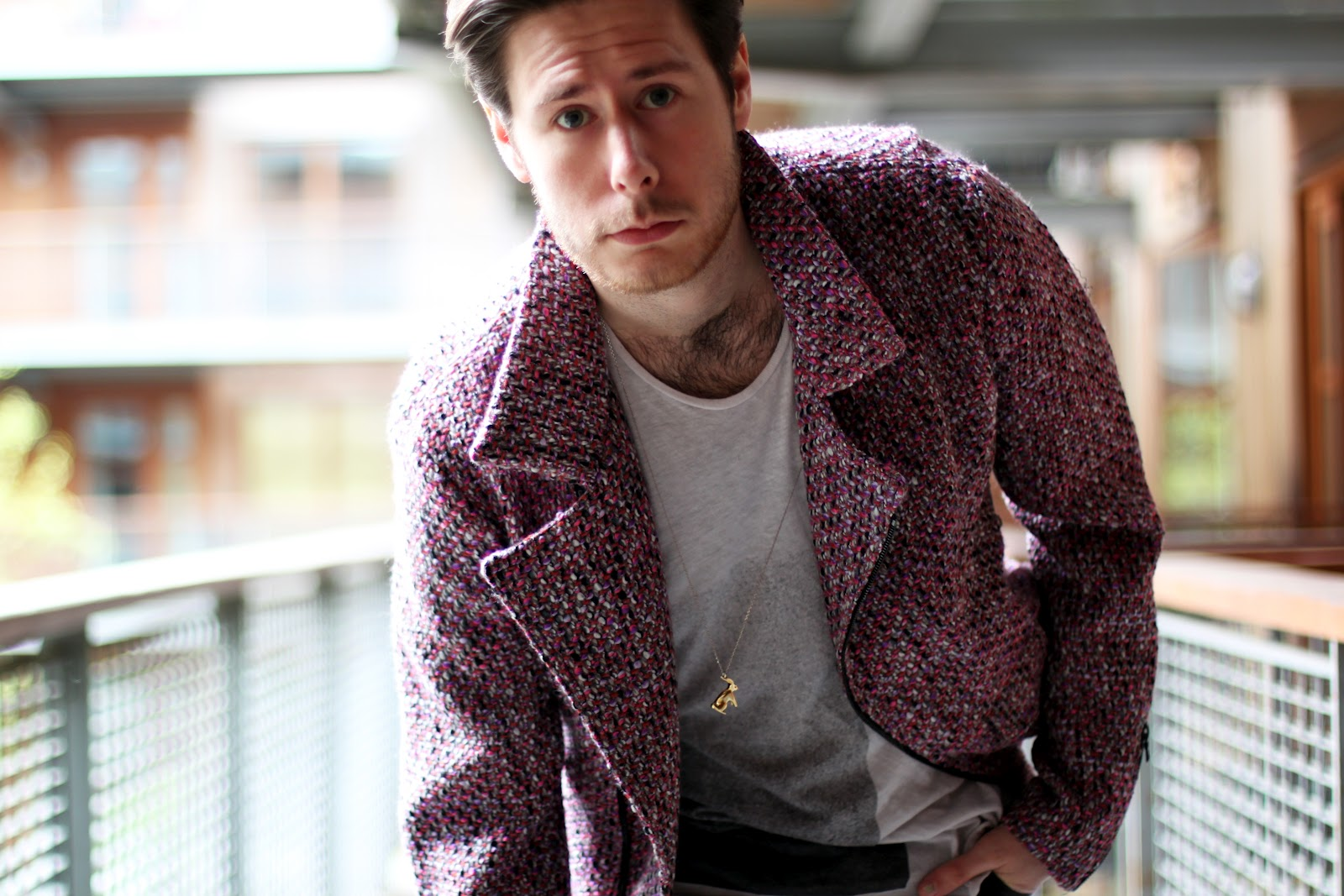 James Long pink boucle biker jacket