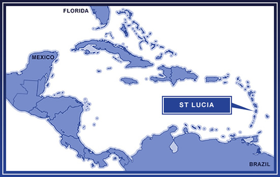 St Lucia on the map