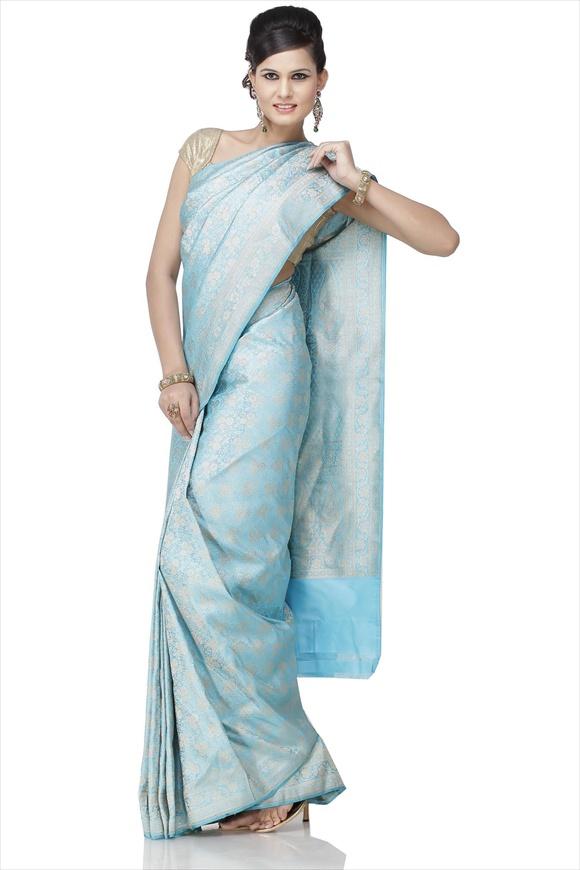 Turquoise Blue Art Kattan Silk Banarasi Saree