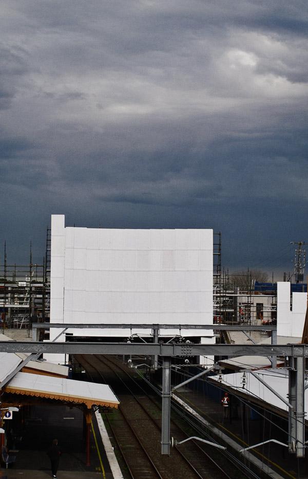 White hoarding over Sydneham Station 2012 - Installation Art?