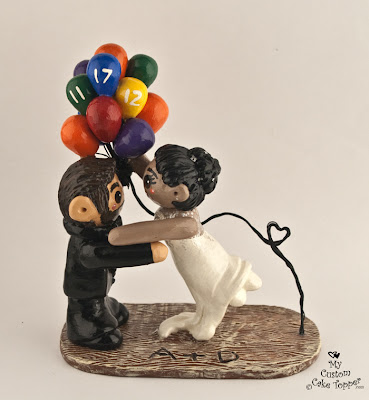 balloons wedding cake topper bride and groom