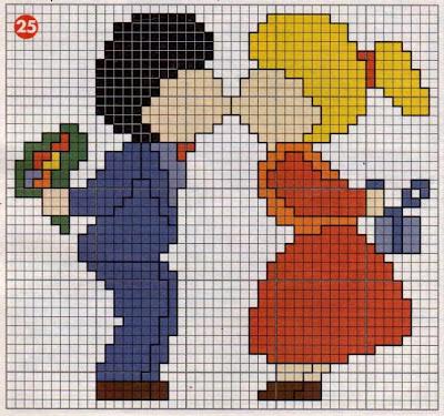 Dia dos namorados gráficos ponto cruz!
