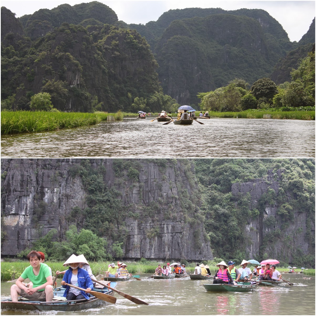 Heading to the second cave of Hang Giua cave after passing through the tiny hole of the first cave, cave Hang Ca at Tam Coc near the city of Ninh Bình in northern Vietnam