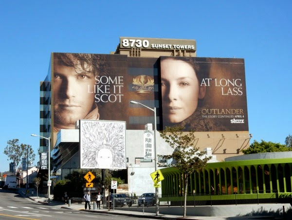 Giant Outlander midseason 1 billboard Sunset Strip