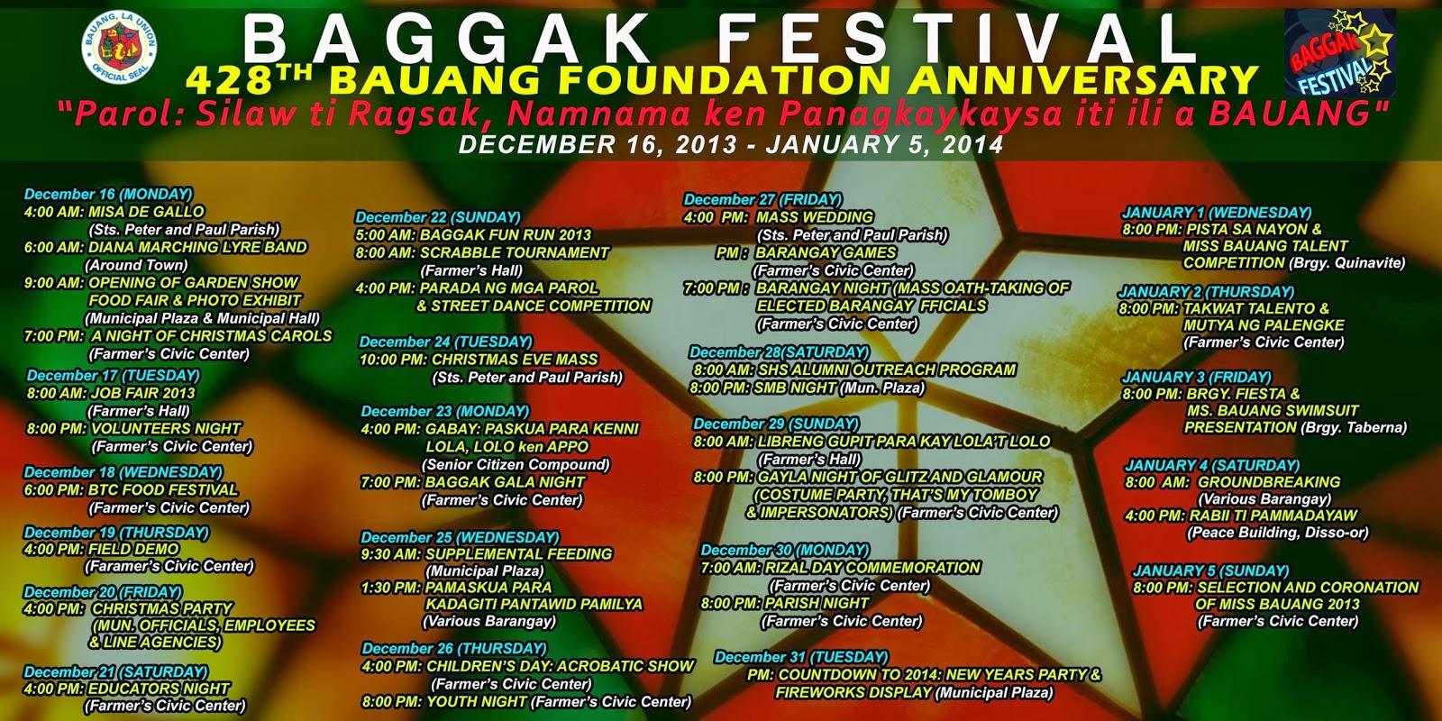 Byahero Baggak Festival 2013 Schedule Of Activities