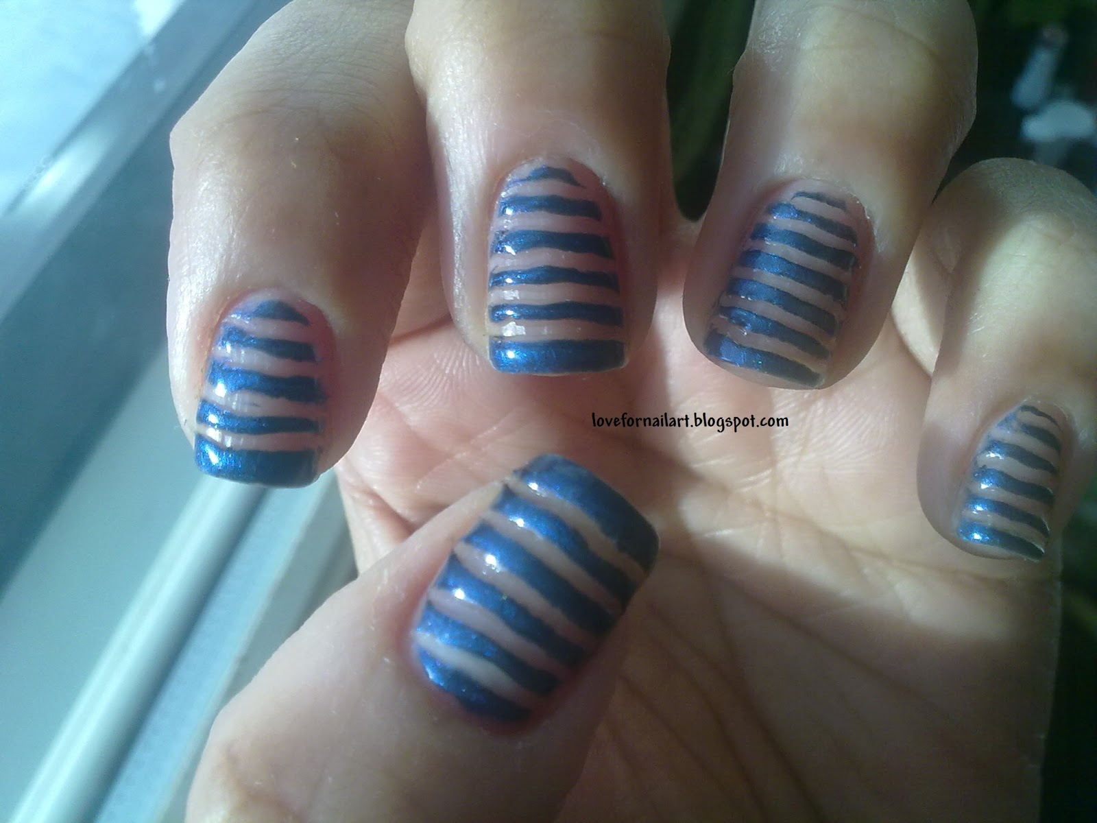 Stripes Nail Art Using Toothpick