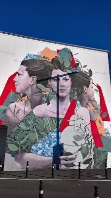 By the artist Bosoletti, inspired by the painting Ritratto di Beatrice (Bice) Presti Tasca by Giacomo Trécourt. The mural was created to celebrate the re-opening of the Accademia Carrara. For more information see the pigmenti.eu map.