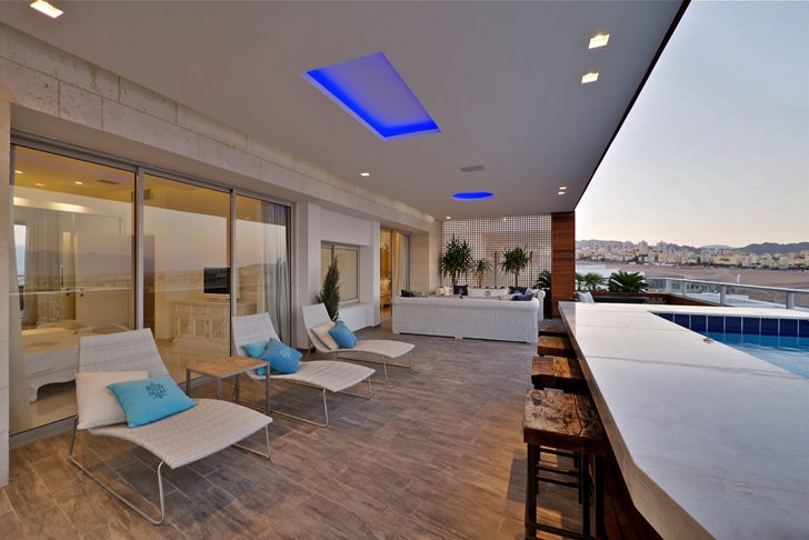 Terrace in penthouse apartment in the desert