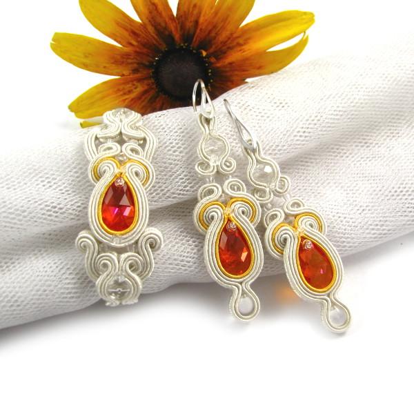 Pomarańczowa biżuteria ślubna sutasz