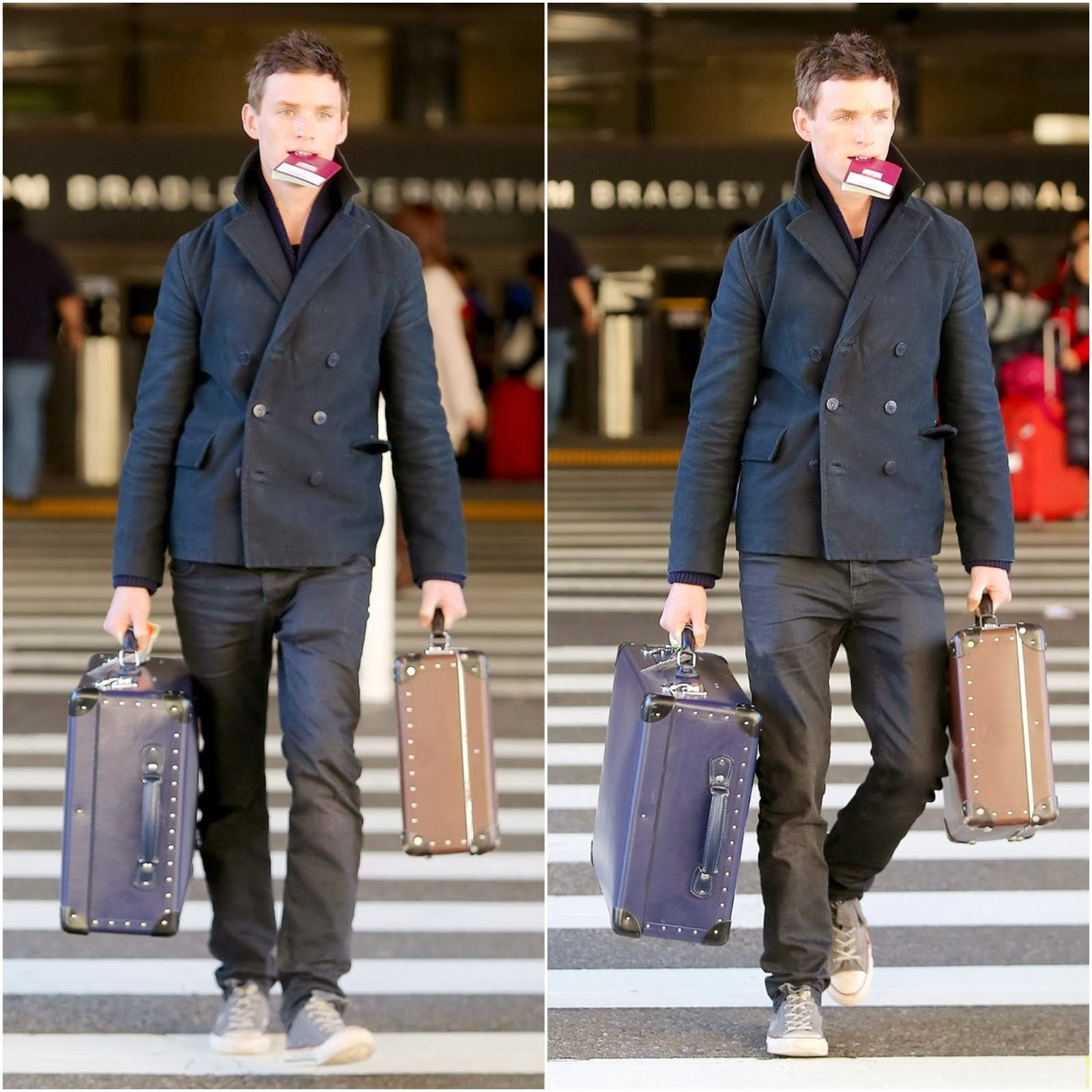 Eddie Redmayne and his Globe-Trotter luggages - Los Angeles International Airport