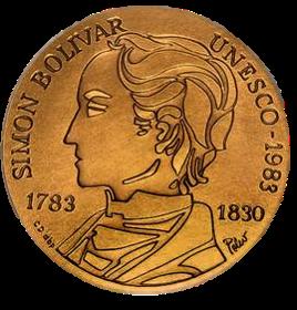 Moneda de Oro conmemorando el Bicentenario del Natalicio de Bolívar