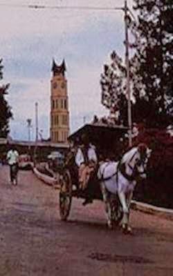 transportasi bendi atau delman dekat jam gadang