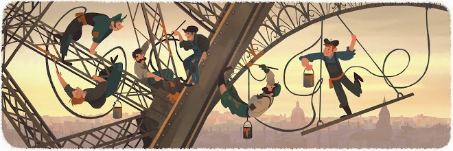 126th Anniversary of the public opening of the Eiffel Tower Google Doodle