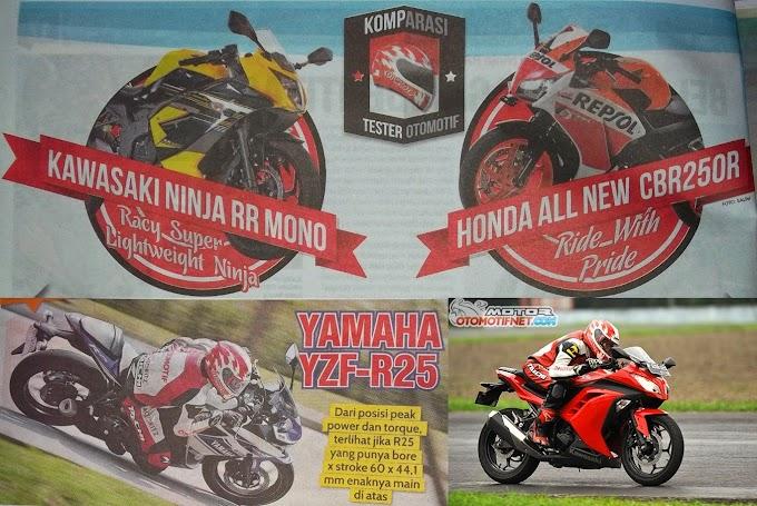 Komparasi Catatan Waktu Ninja 250 FI Vs Ninja RR Mono Vs New CBR250R VS YZF R25