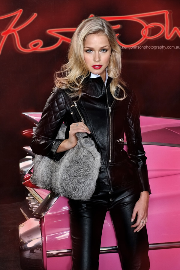 Renae Ayris, biker chic, fashion handbag accessories Sydney photoshoot with vintage Cadillacs, photographed by Kent Johnson.