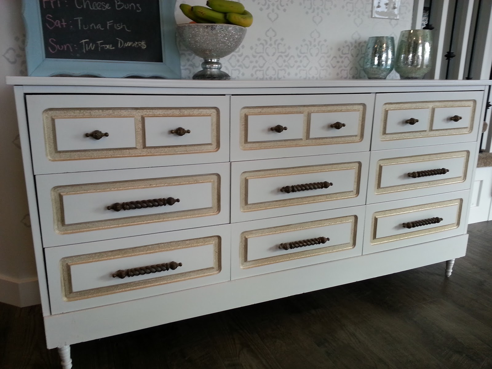 SOLD: $300 White U0026 Gold Retro Dresser