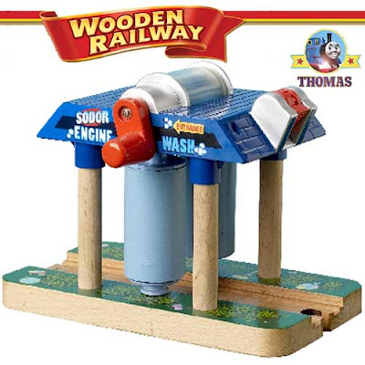 Realistic model Sodor Wash down Thomas the train Wooden Railway toy for boys interactive activities