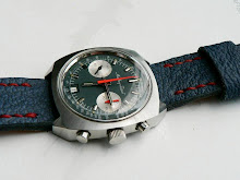 Greg's Vintage Tissot Chronograph on Charcoal and Orange Shark Skin