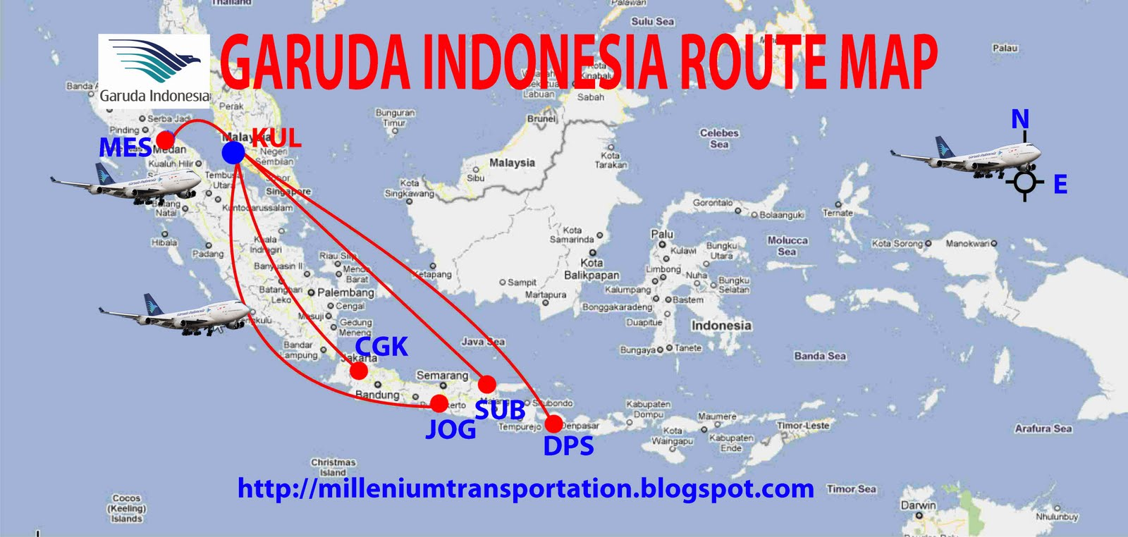 Routes map july 2011 garuda indonesia airlines flights tofrom malaysia kuala lumpur international airport kul sciox Image collections