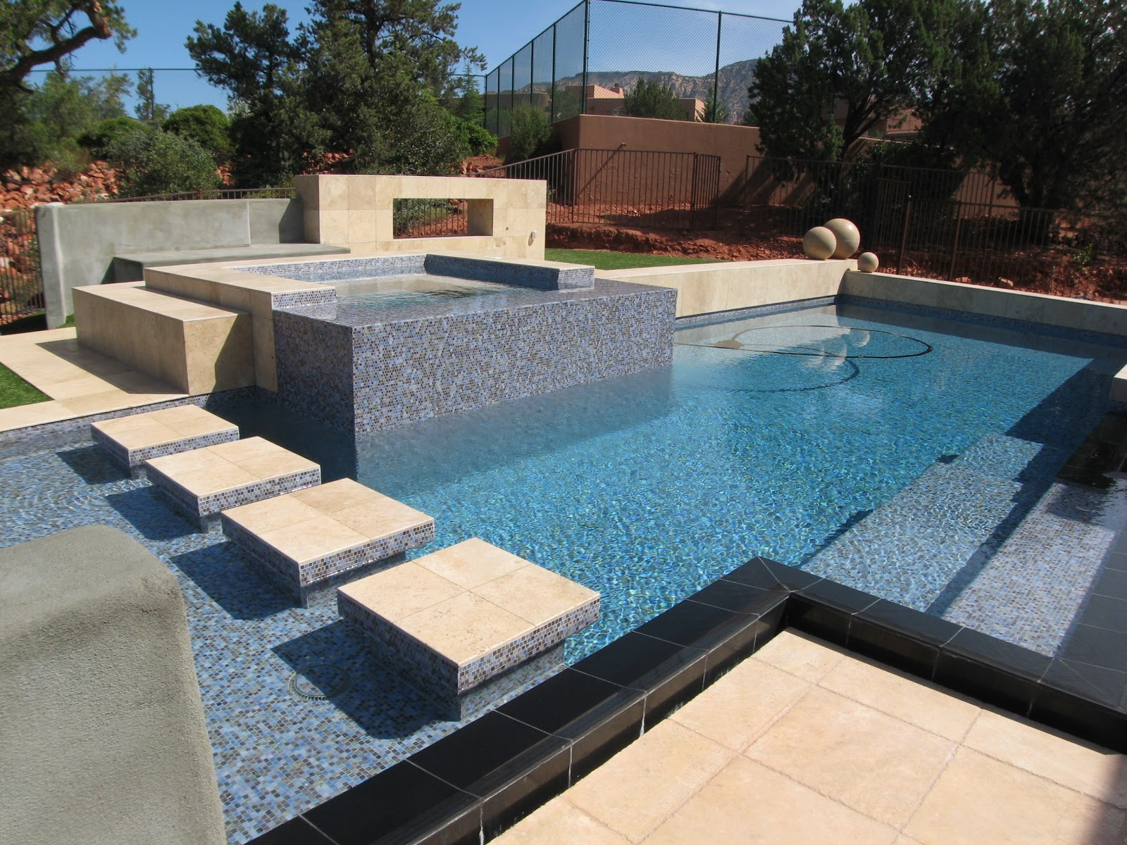 Laticrete Conversations Incredible Glass Mosaic Tile Travertine Pool
