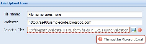 Validate HTML form fields in ExtJs using validation type