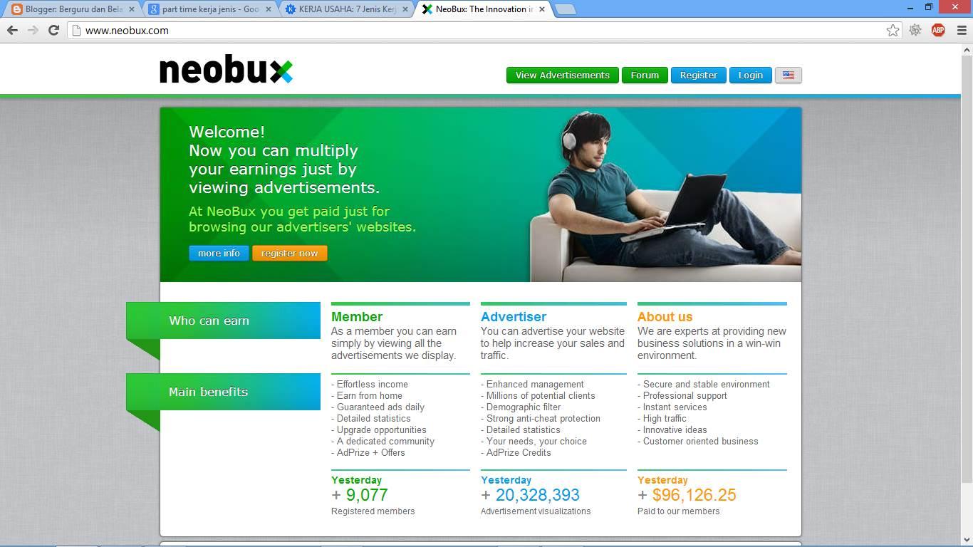 Cara Mendaftar Kerja Part Time Onlinedi Neobux 1