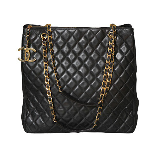 Vintage 1990's black quilted leather Chanel tote bag with gold chain strap and gold hardware