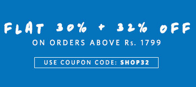 Myntra : Flat 30% off + 32% off on orders above 1799