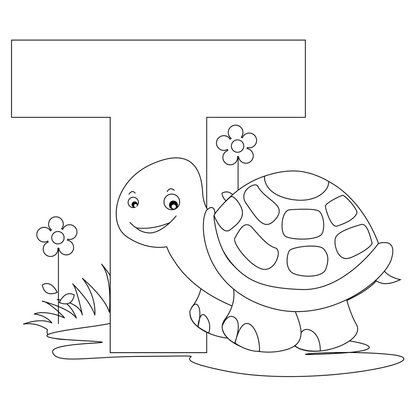 Animal Alphabet Coloring Pages Printable : Animal alphabet letter t coloring turtle