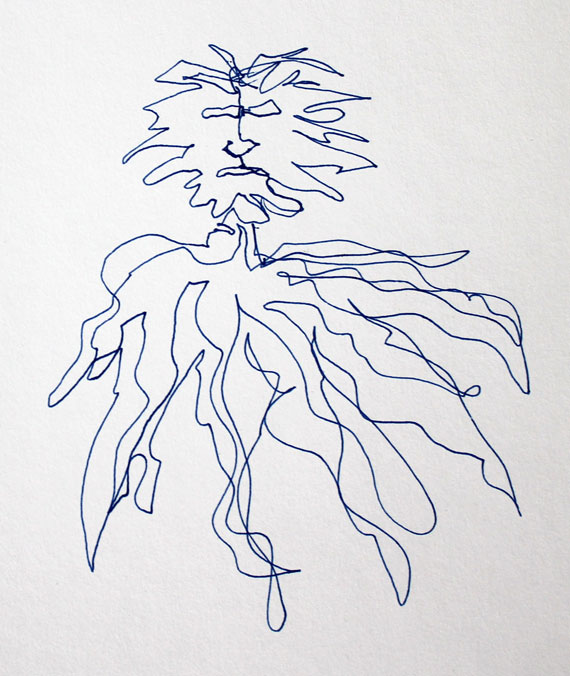 sea creature semi blind contour continuous line drawing