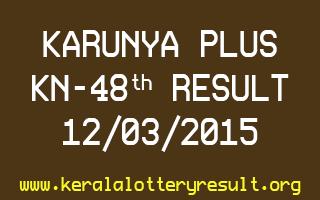 Karunya Plus KN 48 Lottery Result 12-3-2015