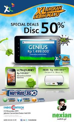 Harga diskon 50% Nexian Ultra Journey Nexian Genius dan Nexian MyFi di indocomtech 2011