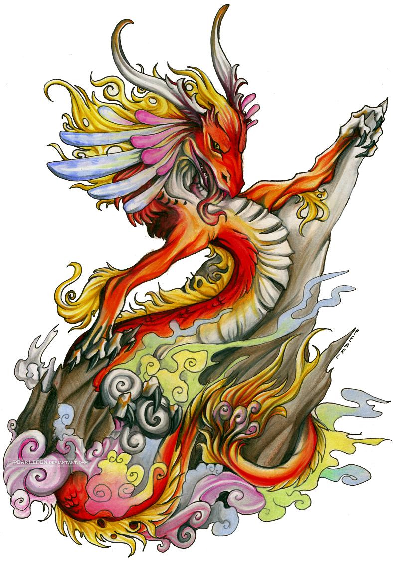 colored dragon tattoo design tattoo design ideas. Black Bedroom Furniture Sets. Home Design Ideas