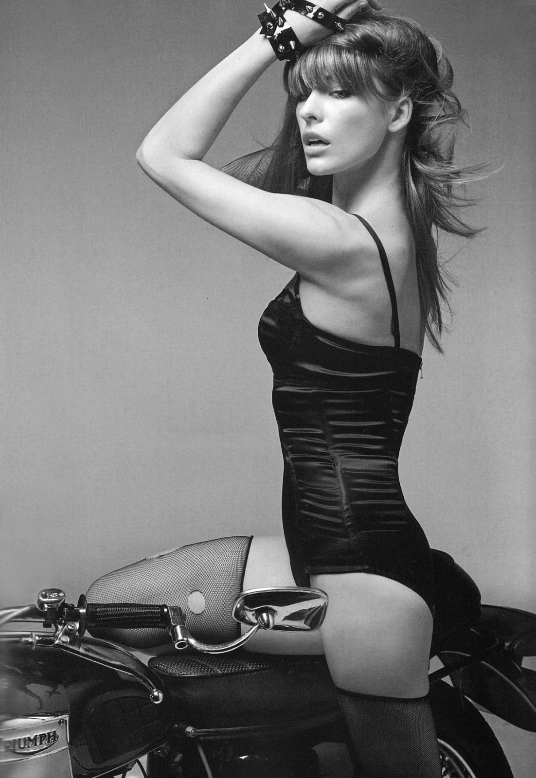 Mila Jovovich Triumph Motorcycle Pin Up