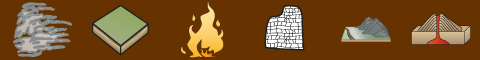 Symbols for clouds, soil layers, fire, reefs, mountains and volcano.