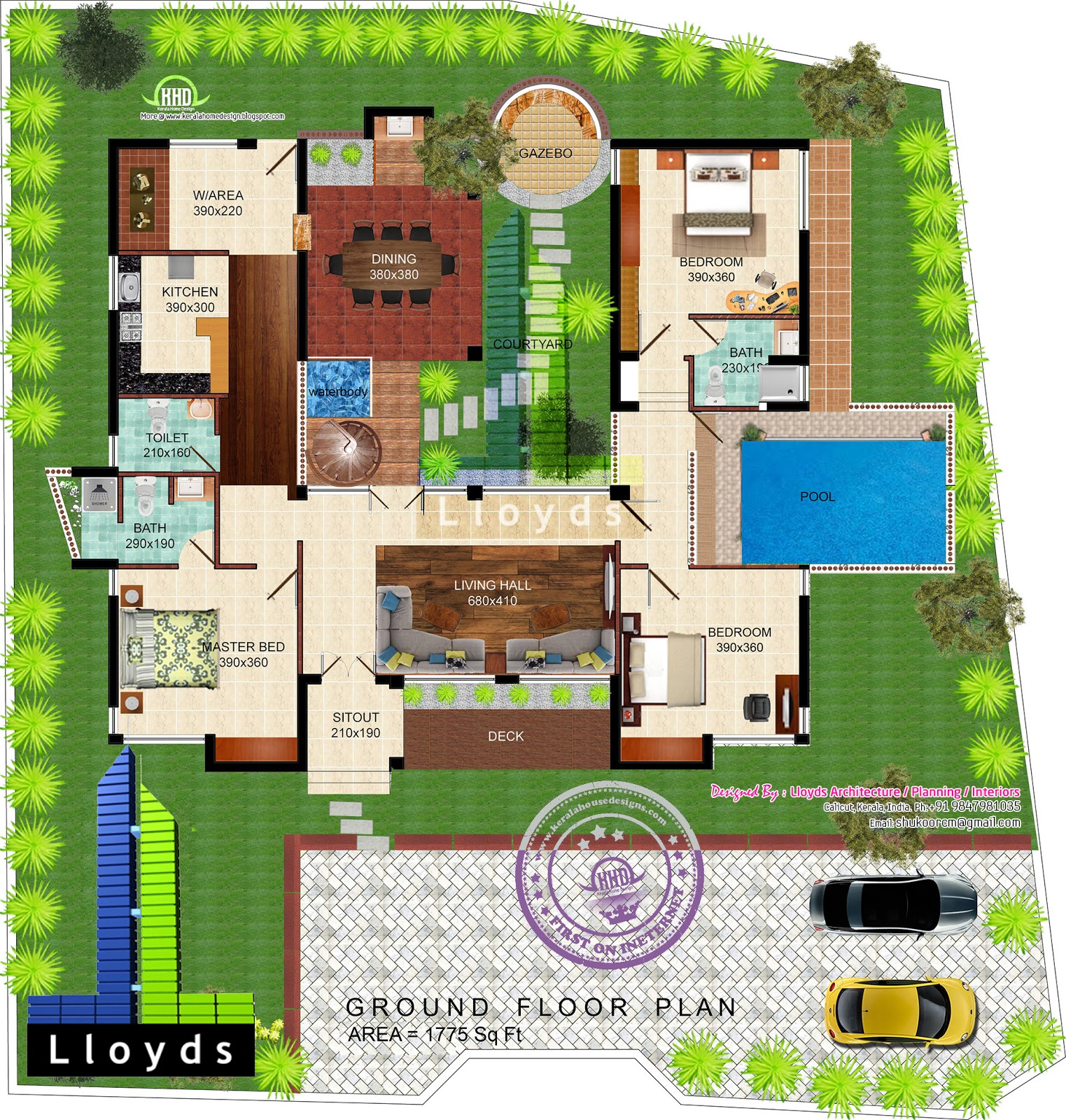 1775 Square Feet 3 Bedroom Mud House Home Kerala Plans