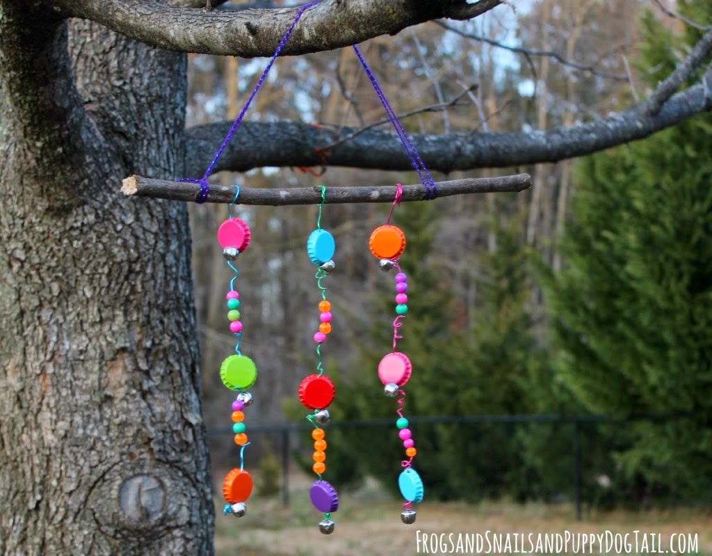 Beaded windchimes munchkins and mayhem for Bottle cap wind chime