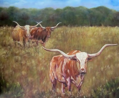 Supper Time,Three Texas Longhorns in a field